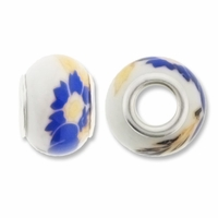 MIOVI™ Large Hole Porcelain Beads w/Silver Plated Grommet,14x9mm Blue Floral Print White Porcelain Rondelle Beads (6PK)
