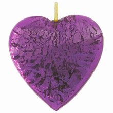 26mm Silver Foil Heart Pendant Amethyst w/ Gold Finding (1pc)