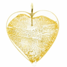 26mm Silver Foil Heart Pendant Gold w/ Gold Finding (1pc)