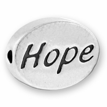 Silver Finish Pewter Message Bead HOPE (1pc)