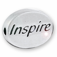 Silver Finish Pewter Message Bead INSPIRE (1pc)