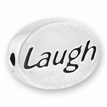 Silver Finish Pewter Message Bead LAUGH (1pc)