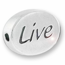 Silver Finish Pewter Message Bead LIVE (1pc)