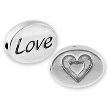 Silver Finish Pewter Message Bead LOVE2 (1pc)