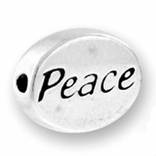 Silver Finish Pewter Message Bead PEACE (1pc)