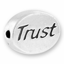 Silver Finish Pewter Message Bead TRUST (1pc)