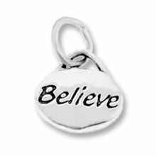 Silver Finish Pewter Message Charm BELIEVE (1pc)
