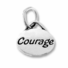 Silver Finish Pewter Message Charm COURAGE (1pc)
