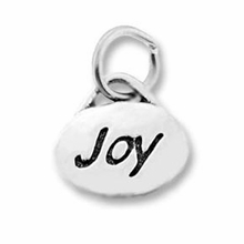 Silver Finish Pewter Message Charm JOY (1pc)