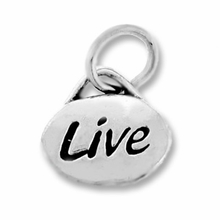 Silver Finish Pewter Message Charm LIVE (1pc)