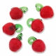 17mm Red Apple Lampwork Glass Charm Drops (6PK)