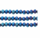 Metallic Blue 3x4mm Faceted  Crystal Rondelle Beads 11.8 Inch Strand