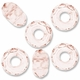 MIOVI™ Glass Crystal Cut Large Hole Beads no Grommets 14x8mm Lt. Rose (6PK)
