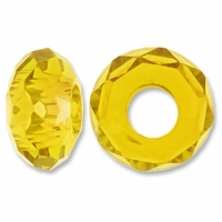 MIOVI™ Glass Crystal Cut Large Hole Beads no Grommets 14x8mm Lt Topaz (6PK)