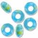 MIOVI™ Glass Crystal Cut Large Hole Beads no Grommets 14x8mm Opaque Blue Green Yellow Swirl (6PK)