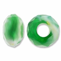 MIOVI™ Glass Crystal Cut Large Hole Beads no Grommets 14x8mm Opaque Green White Swirl (6PK)
