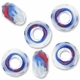 MIOVI™ Glass Crystal Cut Large Hole Beads no Grommets 14x8mm Opaque White Blue Red Swirl (6PK)
