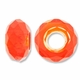 MIOVI™ Glass Crystal Cut Large Hole Beads no Grommets 14x8mm Orange (6PK)