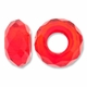 MIOVI™ Glass Crystal Cut Large Hole Beads no Grommets 14x8mm Orange Red (6PK)