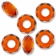 MIOVI™ Glass Crystal Cut Large Hole Beads no Grommets 14x8mm Topaz (6PK)