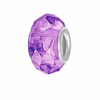 MIOVI™ Glass Crystal Cut Large Hole Beads w/SP Grommets 14x9mm Lt Amethyst (6PK)