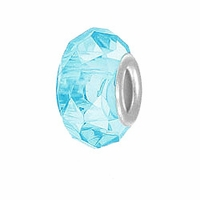 MIOVI™ Glass Crystal Cut Large Hole Beads w/SP Grommets 14x9mm Lt Aquamarine (6PK)