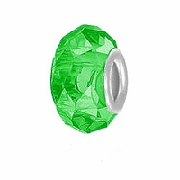 MIOVI™ Glass Crystal Cut Large Hole Beads w/SP Grommets 14x9mm Lt. Emerald (6PK)