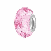 MIOVI™ Glass Crystal Cut Large Hole Beads w/SP Grommets 14x9mm Pink (6PK)