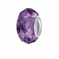 MIOVI™ Glass Crystal Cut Large Hole Beads w/SP Grommets 14x9mm Purple (6PK)