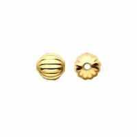 Gold Plated 3mm Corrugated Round Beads (50PK)