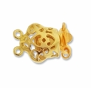 Gold Plated Fancy 17mm 2 Strand Push Clasp (1PC)