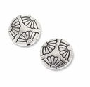 Antiqued Silver 11mm Floral Flat Round Beads (10PK)