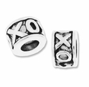 MIOVI� Silver Plated Large Hole 7.5x5mm XOXO Bead (1PC)