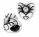 MIOVI� Silver Plated Large Hole 8mm Heart with Crystal Beads (1PC)