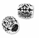 MIOVI� Silver Plated Large Hole 9x8mm Decorative Oval Beads (1PC)
