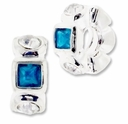 MIOVI� Silver Plated Large Hole 11x5mm Fancy Rondel Crystal/Blue Zircon Beads (1PC)