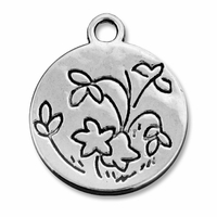 Antiqued Silver Floral Coin Charm (5PK)