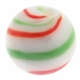 Hand Blown 13mm Round White Red Green Swirl Glass Bead (1PC)
