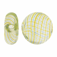 Clear Blue Yellow Swirl Hand Blown 15mm Flat Round Glass Bead (1PC)