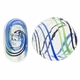 Clear Blue Green Black Swirl Hand Blown 15mm Flat Round Glass Bead (1PC)