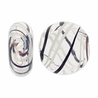 Clear Black White Swirl Hand Blown 15mm Flat Round Glass Bead (1PC)