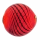 Red Black White Swirl Hand Blown 15mm Flat Round Glass Bead (1PC)