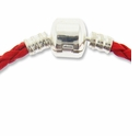 7.5 Inch Red Braided Leather Bracelet with SP Snap Clasp (1PC)