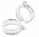 Sterling Silver Adjustable 17mm Ring with Loop (1PC)