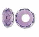 MIOVI� Glass Crystal Cut Large Hole Beads no Grommets 14x8mm Lt Amethyst (6PK)