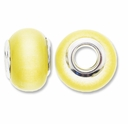 MIOVI� Cats Eye Large Hole Beads w/Silver Plated Grommets 14x9mm Yellow (5PK)