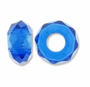 MIOVI� Glass Crystal Cut Large Hole Beads no Grommets 14x8mm Sapphire (6PK)
