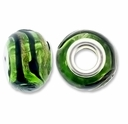 MIOVI™ Lampwork Large Hole Beads w/SP Grommets 14x9mm Greem/Black/Gold Swirl Design (6PK)