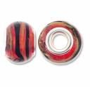 MIOVI� Lampwork Large Hole Beads w/SP Grommets 14x9mm Red/Black/Gold Swirl Design (6PK)