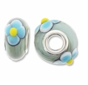MIOVI� Lampwork Large Hole Beads w/SP Grommets 14x9mm Blue Floral Design (6PK)